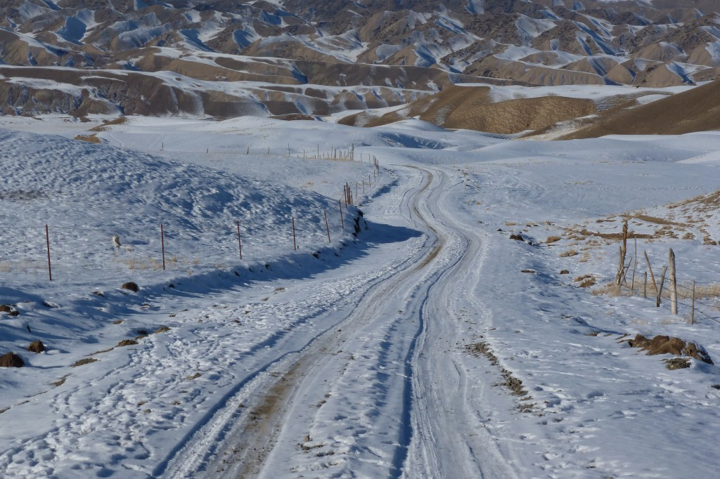 The national defense road in the Tian Shan Foothills