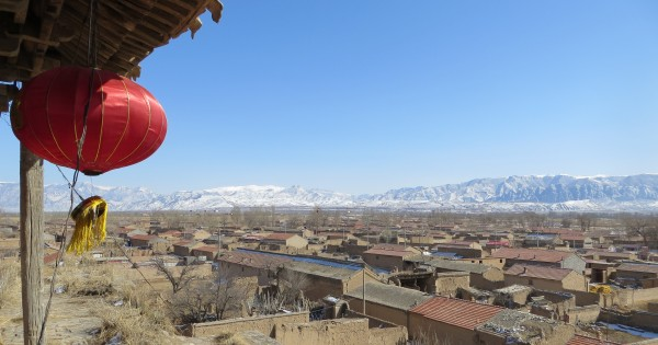 View to the Little Wutai Mountains from the temple-tower of Shuibei Second Village, near Yu Xian