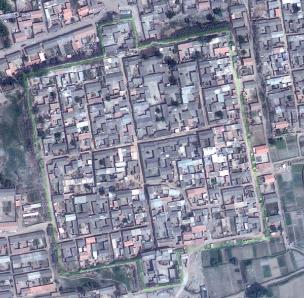 Google Earth Image of Xigu Fort in Nuanquan Township, Yu County, Hebei Province, China